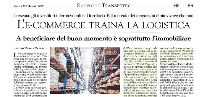 L'e-commerce traina la Logistica – Rassegna Milano Finanza