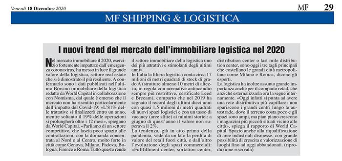 I nuovi trend del mercato dell'immobiliare logistico nel 2020 – Rassegna Milano Finanza